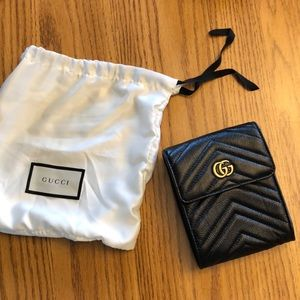 GUCCI Marmont GG Quilted Black belt purse